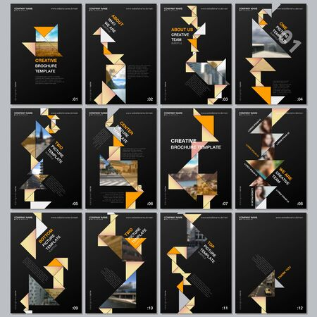 Creative brochure templates with colorful triangle origami paper elements on black background. Covers design templates for flyer, leaflet, brochure, report, presentation, advertising, magazine.