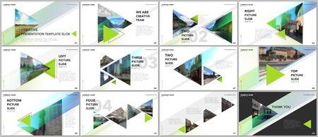Minimal presentations design, portfolio vector templates with triangles and triangular elements. Multipurpose template for presentation slide, flyer leaflet, brochure cover, report, advertising. Illusztráció