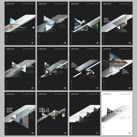 Minimal brochure templates with colorful gradient trangles and triangular shapes on black background.. Covers design templates for flyer, leaflet, brochure, report, presentation, advertising, magazine Illusztráció