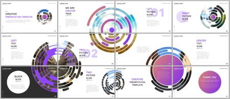 Minimal presentations design, portfolio vector templates with colorful purple circle elements on white background. Multipurpose template for presentation slide, flyer leaflet, brochure cover, report.