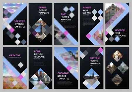 Creative social networks stories design, vertical banner or flyer templates with cubes, geometric abstract background. Covers design templates for flyer, leaflet, brochure, presentation, advertising.