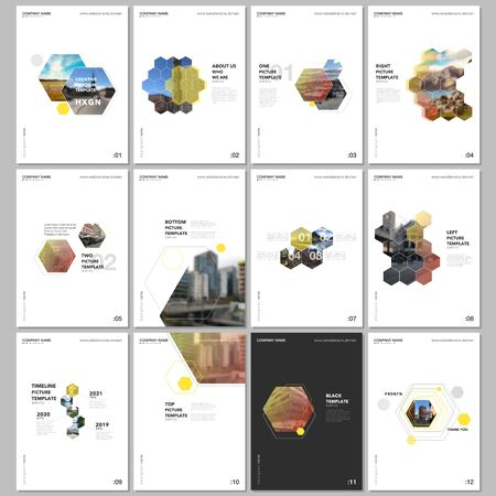 Minimal brochure templates with hexagons and hexagonal elements on white background. Covers design templates for flyer, leaflet, brochure, report, presentation, advertising, magazine. Illusztráció