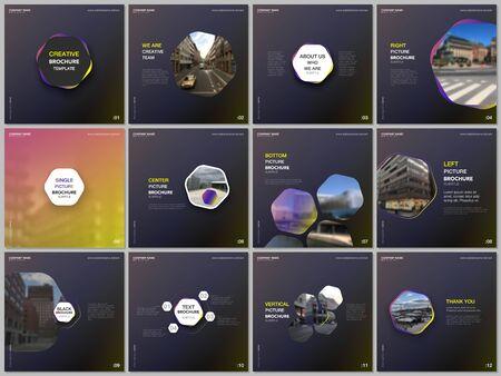 Minimal brochure templates with yellow color hexagons, hexagonal shapes. Covers design templates for square flyer, leaflet, brochure, report, presentation, blog, social media advertising, online promo Illusztráció