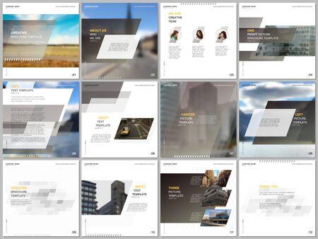 Minimal brochure template with unique fresh colorful geometric design. Covers design templates for square flyer, leaflet, brochure, presentation, magazine, blog, social media advertising, online promo Illusztráció