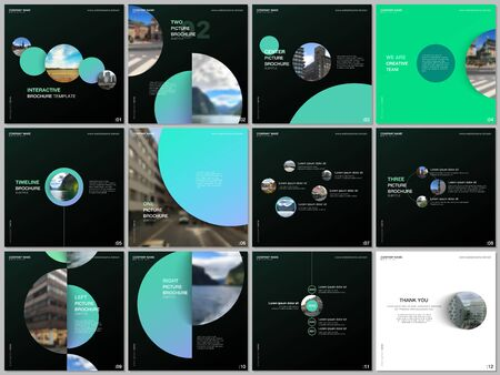 Minimal brochure templates colorful circles, round shapes. Covers design templates for square flyer, brochure, presentation, social media advertising, online seminar, digital education.