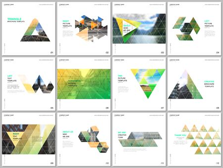 Minimal brochure templates with triangular design background, triangle style pattern. Covers design templates for square flyer, leaflet, brochure, report, presentation, advertising, magazine.