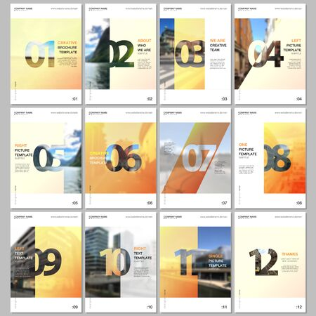 Creative brochure templates with numbers. Easy to edit and customize. Covers design templates for flyer, leaflet, brochure, report, presentation, advertising, magazine.