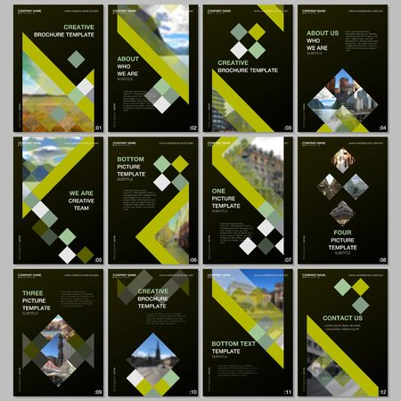 Creative brochure templates with colorful cubes, trendy geometric abstract background. Covers design templates for flyer, leaflet, brochure, report, presentation, advertising, magazine.
