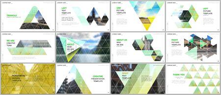 Minimal presentations design, portfolio vector templates with triangular design background, triangle style pattern. Multipurpose template for presentation slide, flyer leaflet, brochure cover, report. Illusztráció