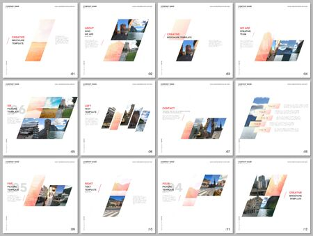 Minimal brochure templates with colorful gradient geometric background. Covers design templates for square flyer, leaflet, brochure, report, presentation, advertising, magazine.