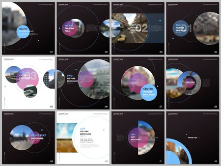 Minimal brochure templates with pink and blue color circles, round shapes. Covers design templates for square flyer, leaflet, education brochure, presentation, advertising, magazine, school project.
