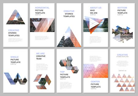 Creative social networks stories design, vertical banner or flyer template with triangular design background, triangle style pattern. Covers design templates for flyer, leaflet, brochure, presentation