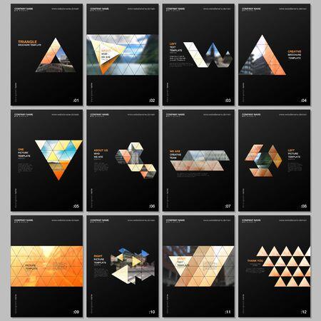 Plantillas de folletos creativos con fondo de diseño triangular, patrón de estilo triangular. Cubre plantillas de diseño para volantes, folletos, folletos, informes, presentaciones, publicidad, revistas.