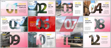 Minimal presentations design, portfolio vector templates with numbers. Easy to edit and customize. Multipurpose template for presentation slide, flyer leaflet, brochure cover, report, advertising.