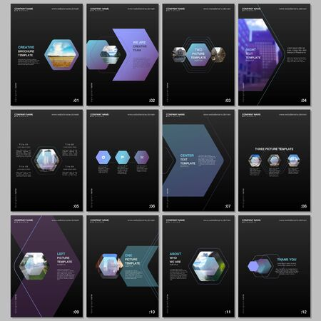 Creative brochure templates with colorful hexagonal design background, hexagon style pattern. Covers design templates for flyer, leaflet, brochure, report, presentation, advertising, magazine