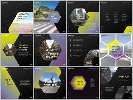 Minimal brochure templates with hexagonal design background, hexagon style pattern. Covers design templates for square flyer, leaflet, brochure, report, presentation, advertising, magazine 일러스트