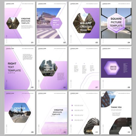 Creative brochure templates with hexagonal design background, hexagon style pattern. Covers design templates for flyer, leaflet, brochure, report, presentation, advertising, magazine