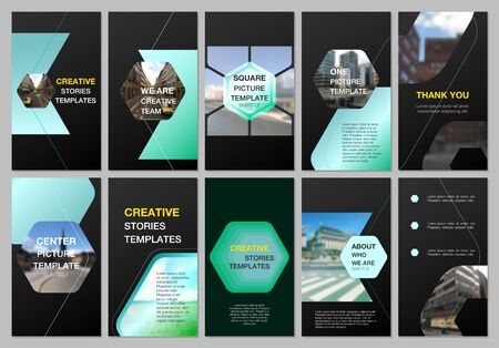 Creative social networks stories design, vertical banner or flyer templates with hexagonal design background, hexagon style pattern. Covers design templates for flyer, leaflet, brochure, presentation