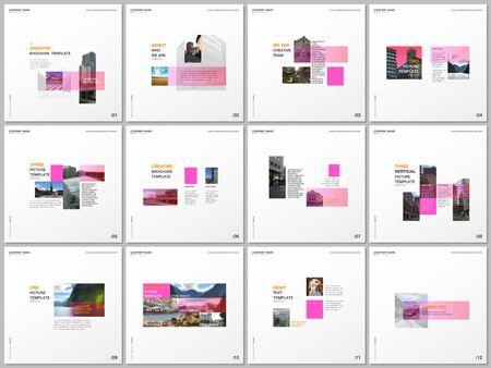 Plantillas de folletos mínimos con rectángulos de color rosa, formas rectangulares. Cubre plantillas de diseño para volantes cuadrados, folletos, folletos, informes, presentaciones, blogs, publicidad, revistas para blogs. Ilustración de vector