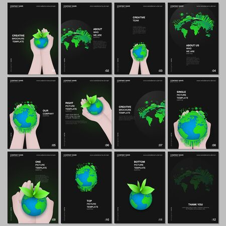 A4 brochure layout of covers design templates for flyer leaflet, A4 format brochure design, report, magazine cover, book design. Green world globe in the hands of man. Earth planet health care concept.