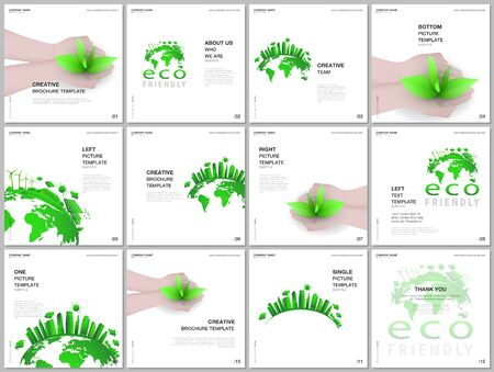 Brochure layout of square format covers design templates for square flyer leaflet, brochure design, report, presentation, magazine cover. Earth planet health care, sustainable development concept