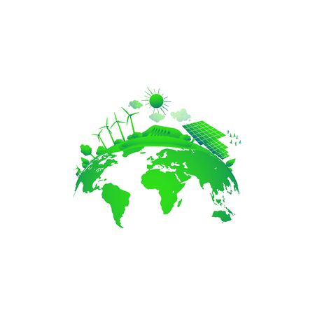 Green Earth concept. Solar and wind power. Green sustainable energy, ecology development environment, sustainable development concept