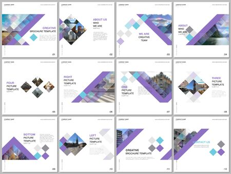 Minimal brochure templates with colorful cubes, trendy geometric abstract background. Covers design templates for square flyer, leaflet, brochure, report, presentation, advertising, magazine Vectores