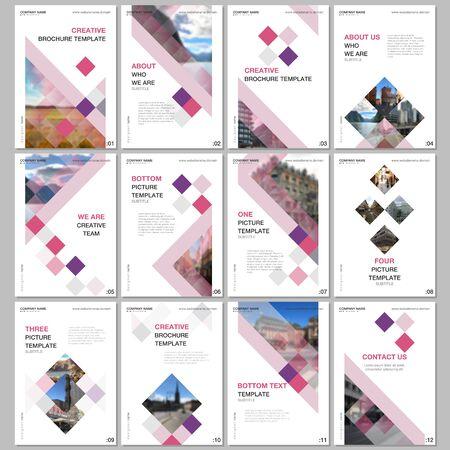 Modèles de brochures créatives avec des cubes colorés, abstrait géométrique tendance. Couvre les modèles de conception pour flyer, dépliant, brochure, rapport, présentation, publicité, magazine.