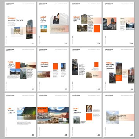Creative brochure templates with colorful gradient design geometric trending elements. Covers design templates for flyer, leaflet, brochure, report, presentation, advertising, magazine.