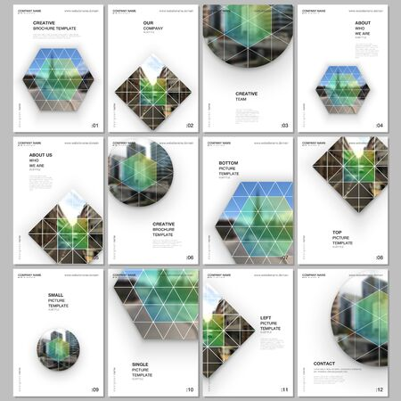 A4 brochure layout of covers design templates for flyer leaflet, A4 format brochure design, report, presentation, magazine cover, book design. Abstract geometric background with simple triangle shapes