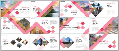 Minimal presentations design, portfolio vector templates with cubes, geometric abstract background. Multipurpose template for presentation slide, flyer leaflet, brochure cover, report, advertising. Vector Illustration