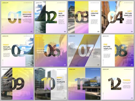 Minimal brochure templates with numbers. Easy to edit and customize. Covers design templates for square flyer, leaflet, brochure, report, presentation, advertising, magazine. Illusztráció