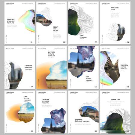 Mise en page de brochure A4 des modèles de conception de couvertures pour dépliant, conception de brochure au format A4, rapport, présentation, couverture de magazine, conception de livre. Fond minimal simple avec des formes géométriques incurvées.