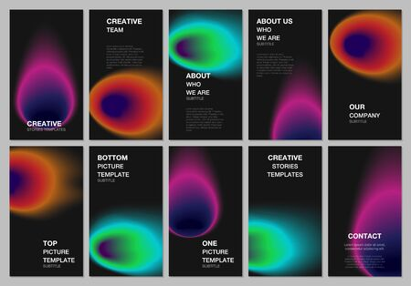 Social networks stories design, vertical banner or flyer templates. Covers design templates for flyer, leaflet, brochure cover. Abstract blur shapes with iridescent colors soft effect gradients.