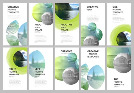 Social networks stories design, vertical banner or flyer templates. Covers design templates for flyer, leaflet, brochure cover, presentation, advertising . Abstract green fresh fluid geometric design.