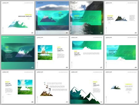 Brochure templates. Covers design templates for square flyer, leaflet, brochure, report, presentation, advertising. Background for tourist camp, nature tourism, camping. Aadventure design concept. Ilustracje wektorowe