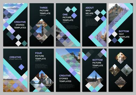 Creative social networks stories design, vertical banner or flyer templates with cubes, geometric abstract background. Covers design templates for flyer, leaflet, brochure, presentation, advertising. Vectores