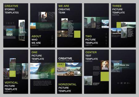 Creative social networks stories design, vertical banner or flyer templates with colorful gradient design geometric trending elements. Covers design template for flyer, leaflet, brochure, presentation Çizim