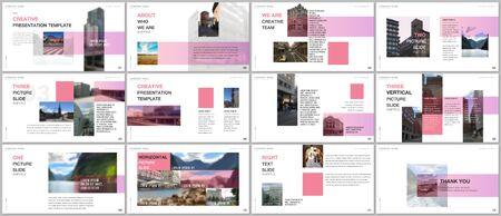 Minimal presentations design, portfolio vector templates with colorful gradient design geometric trending elements. Multipurpose template for presentation slide, flyer leaflet, brochure cover, report.