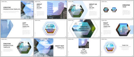 Presentation design vector templates, multipurpose template for presentation slide, flyer, brochure cover design, infographic report. Corporate identity business concept background with hexagons. Vettoriali