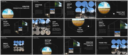 Presentation vector templates, multipurpose template for presentation slide, flyer, brochure cover design, infographic presentation. Abstract smart technology design with hexagons and place for photo. Vecteurs