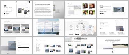 Bundle of editable business templates for digital app, web products. Vector templates for website design, presentations, portfolio, presentation slides, flyer, leaflet, brochure cover, annual report. Vetores