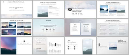 Vector templates for website design, presentations, portfolio, presentation slides, brochure cover, report. Fog, sunrise in morning and sunset in evening. Nature landscape backgrounds with mountains. Vettoriali