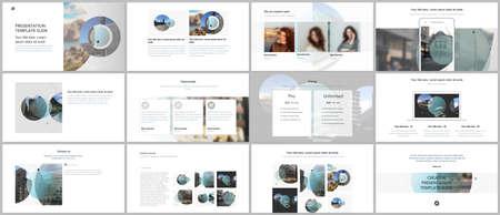Presentation design vector templates, multipurpose template for presentation slide, flyer, brochure cover design with abstract circle banners. Social media web banner. Social network photo frame.