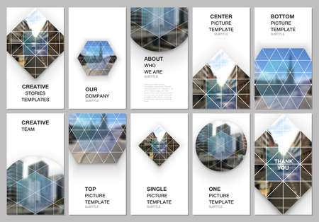 Social networks stories design, vertical banner or flyer templates. Covers design templates for flyer, leaflet, brochure cover, presentation. Abstract geometric backgrounds with simple triangle shapes