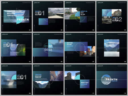 Minimal brochure template with trendy fresh colorful geometric design. Covers design templates for square flyer, leaflet, brochure, presentation, magazine, blog, social media advertising, online promo