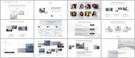 Bundle of editable business templates for digital app, web products. Vector templates for website design, presentations, portfolio, presentation slides, flyer, leaflet, brochure cover, annual report.
