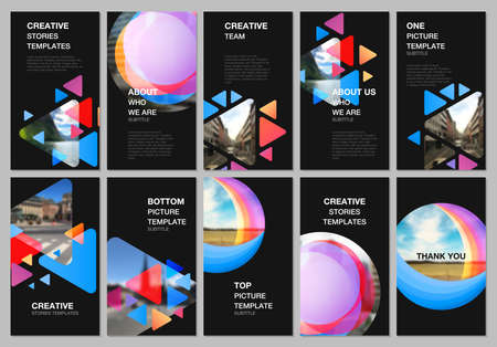 Social networks stories design, vertical banner or flyer templates. Covers design templates for flyer, brochure cover. Colorful simple design background for professional business agency portfolio. Иллюстрация