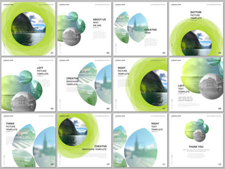 Brochure layout of square format covers design templates for square flyer leaflet, brochure design, report, presentation, magazine cover. Abstract green fresh fluid geometric design.