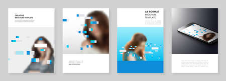 A4 brochure layout of covers design templates for flyer leaflet, A4 brochure design, report, presentation, magazine cover, book design. Abstract geometric pattern. Corporate identity business concept.